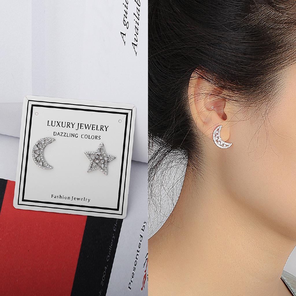 077a9a1289d6b Sweet Lady 925 Silver Asymmetrical Zircon Stud Earrings | Shopee ...