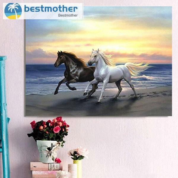 3D Diamond Painting Cross Stitch 2 Horses Beach Run Mosaic Pasted DIY Home Decor