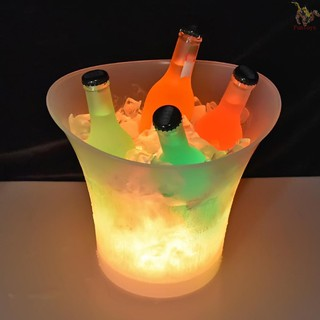 Fine Ice Bucket 5L High Capacity LED Light Lamp ICE Bucket Curve Design Automatic Color Changing Battery Powered Operated for Home Party Bar Club Theme Restaurant Pub Wine Drink Beer Juice