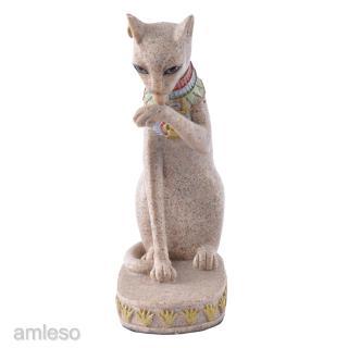 Sitting Ancient Egyptian Mau Cat Goddess Deity Sandstone Statue Figurine