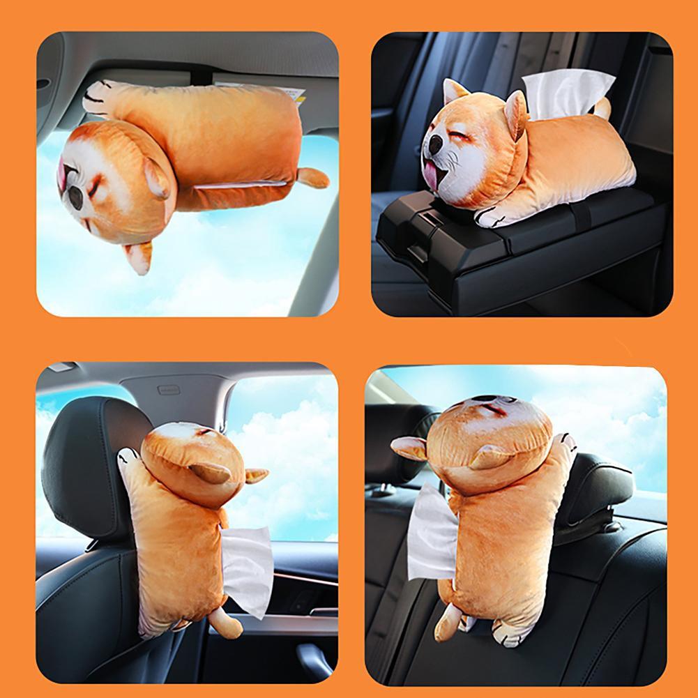 3D Plush Cartoon Car Tissue Box Napkin Holder Auto Vehicle Seat Paper Box