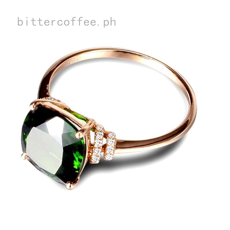 Sterling Silver 18k Rose Gold Tail Rings Crystal Rhinestones Natural Emerald