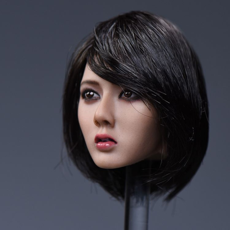 "1//6 Female Head Sculpt Asia Short Black Hair Carved Head For 12/"" Action Figure"