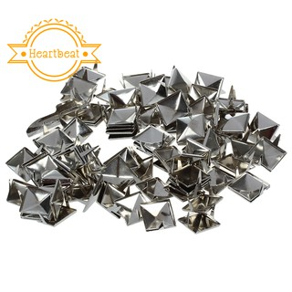 100pcs 2 Prongs Pyramid Studs 12mm Silver--Great for Any Leathercraft Project