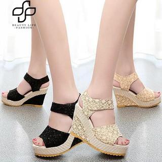 833602c814 【COD】Beauty Fashion Women Girl Faux Leather High Heel Platform Lace Peep  Toe Beach Sandals | Shopee Philippines