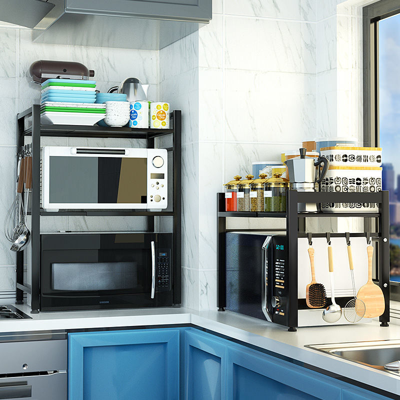 Retractable Microwave Oven Shelf Kitchen Black Shopee Philippines
