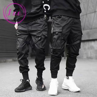 YUNY Mens Pockets Drawstring Waist Autumn Casual Cargo Sport Baggy Pants Light Grey S