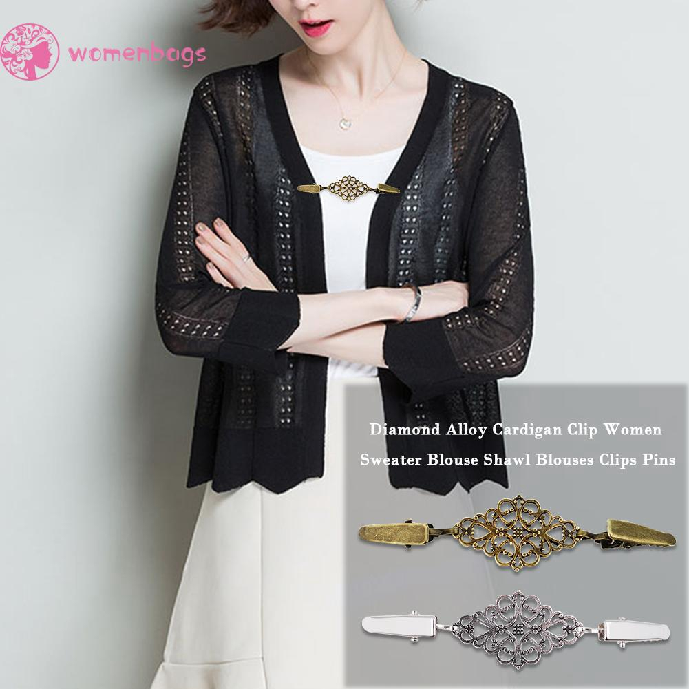 UK Women Duck Clips Beaded Pearl Alloy Shawl Blouse Sweater Cardigan Accessories