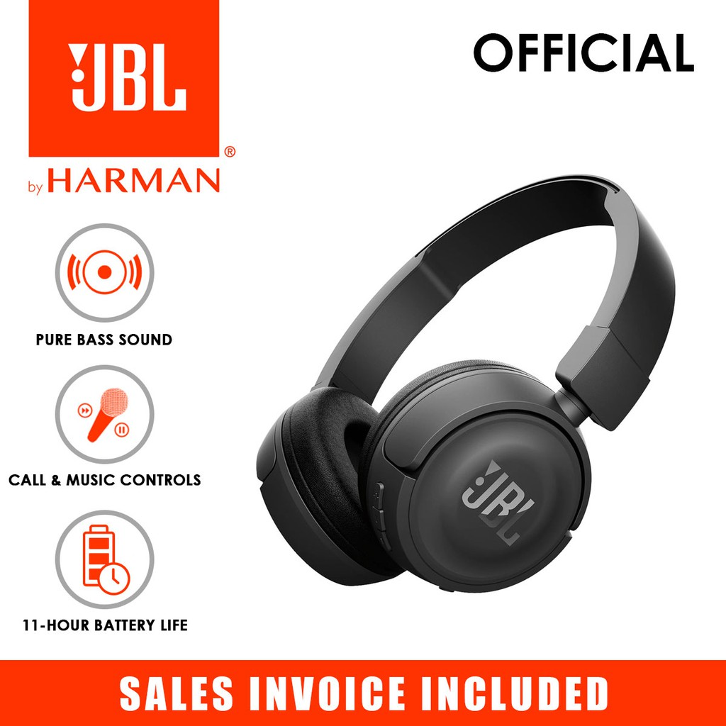 Jbl T450bt Wireless Bluetooth On Ear Headphones With Built In Remote And Microphone Black Spoyl Shopee Philippines