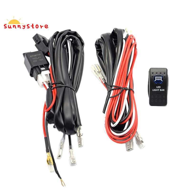 Car Driving Light 5 Pin Blue Led Rocker Switch 40a Relay Wiring Harness Kit Shopee Philippines