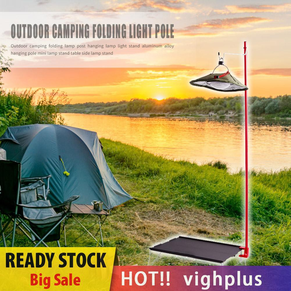 SUNDICK Outdoor Camping Folding Lamp Post Pole Tent Hanging Light Holder Stand