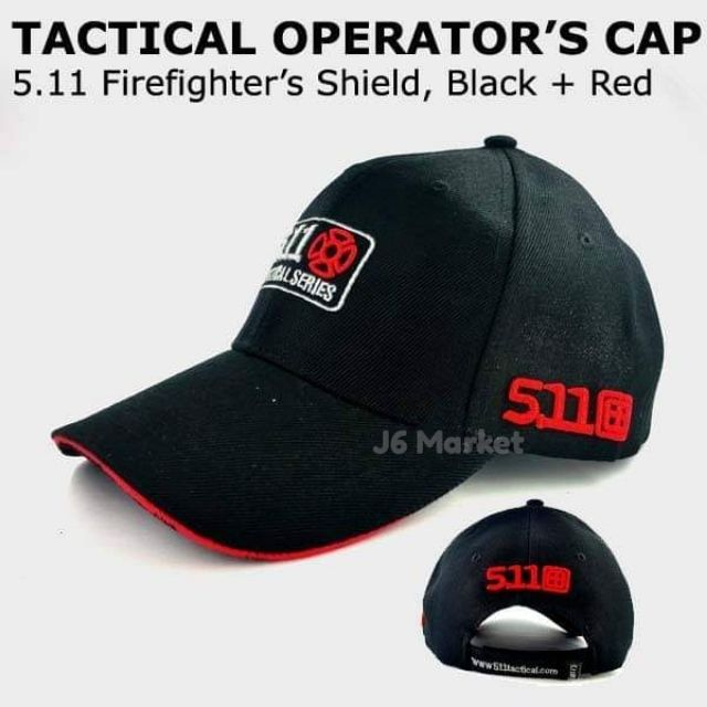 5 11 Military Tactical Operator's Cap (Black Red)