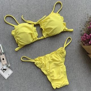 cost charm enjoy lowest price 2019 factory price Women Hollow Out Swimwear Bikini Set Push-up Bathing Suit