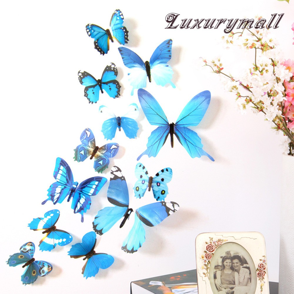 New 12 PCS 3D Butterfly home decoration wall Sticker on the Wall Decor Mural Art