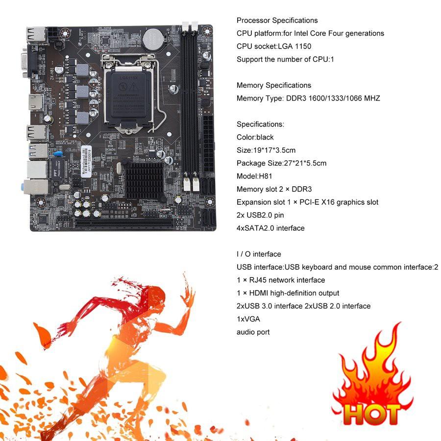 💙H81-1150 Computer Gigabit Ethernet Mainboard Motherboard Support LGA 1150