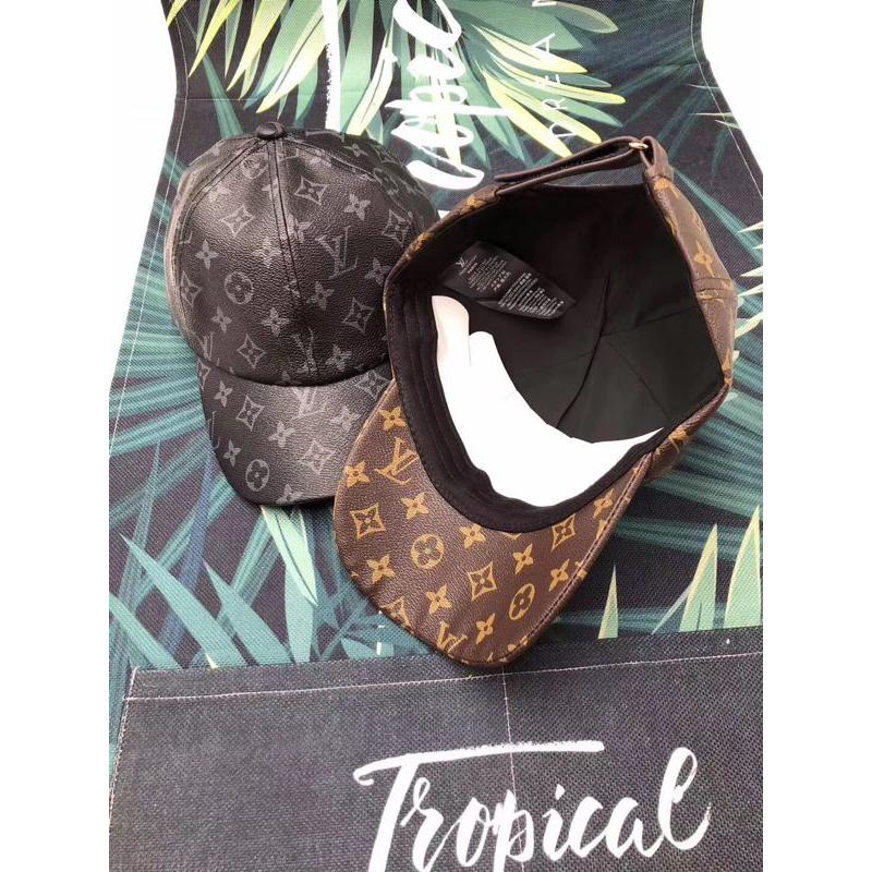 7701113a425 Louis Vuitton LV Virgil Black Printed Leather Baseball Cap   Shopee  Philippines