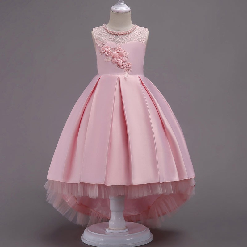 Kids Girls Princess Dress Tutu Floral Trailing Gown Party Wedding Pageant Formal