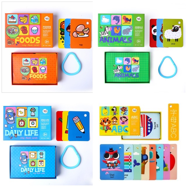 Joan Miro Children Ring Flash Cards English Learning Alphabet Letters ABC Food Daily Life Animals