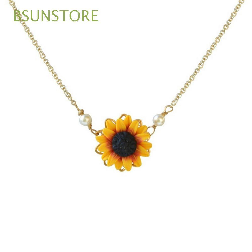 da4c5fd45af50 Women Charm Jewelry Romantic Princess Sunflower Necklace