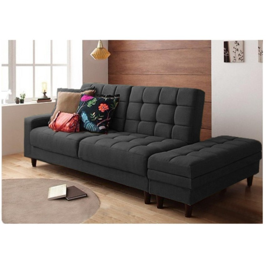 Fabric Sofabed With Foot Stool Storage