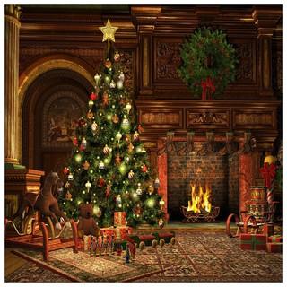 5x7ft Christmas Theme Fireplace Photography Backdrop Background Studio Prop