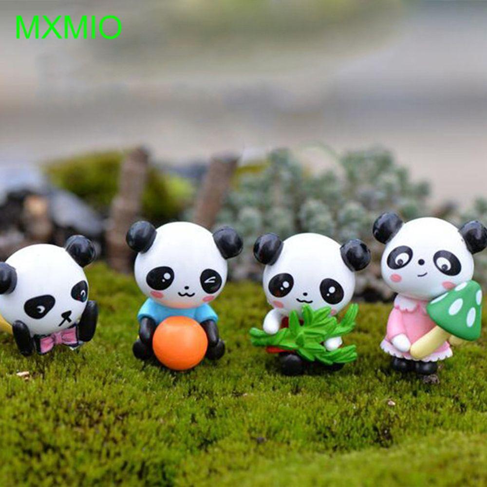 4Pcs Miniature Micro Landscape Decor Resin Pandas Set Ornament DIY Craft S