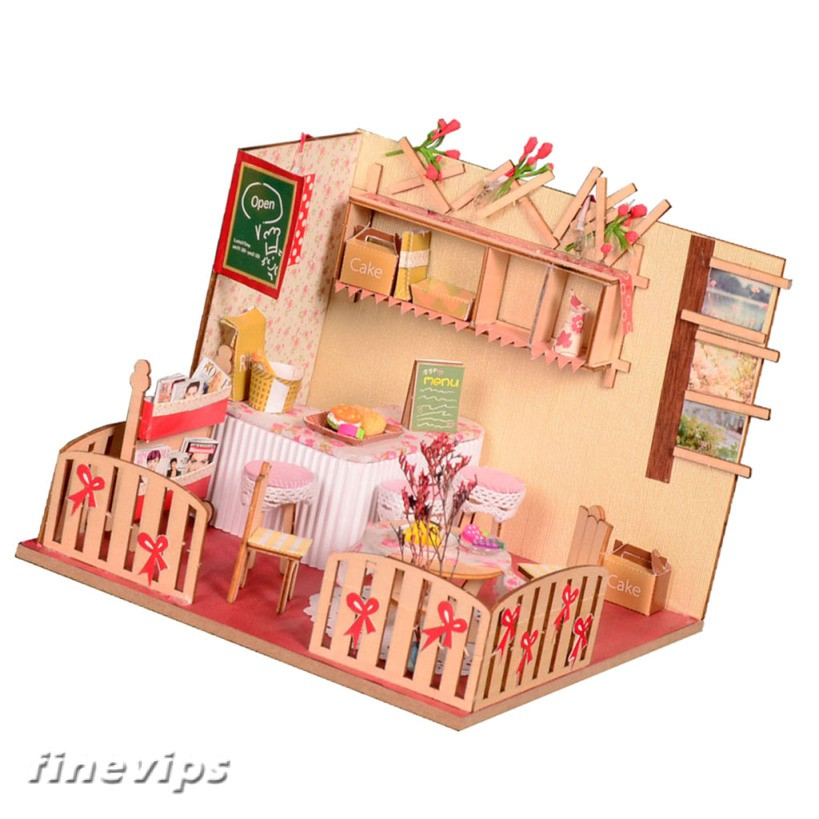 1:24 Doll House DIY Miniature Furniture Kit West Bar Toy Birthday Gifts