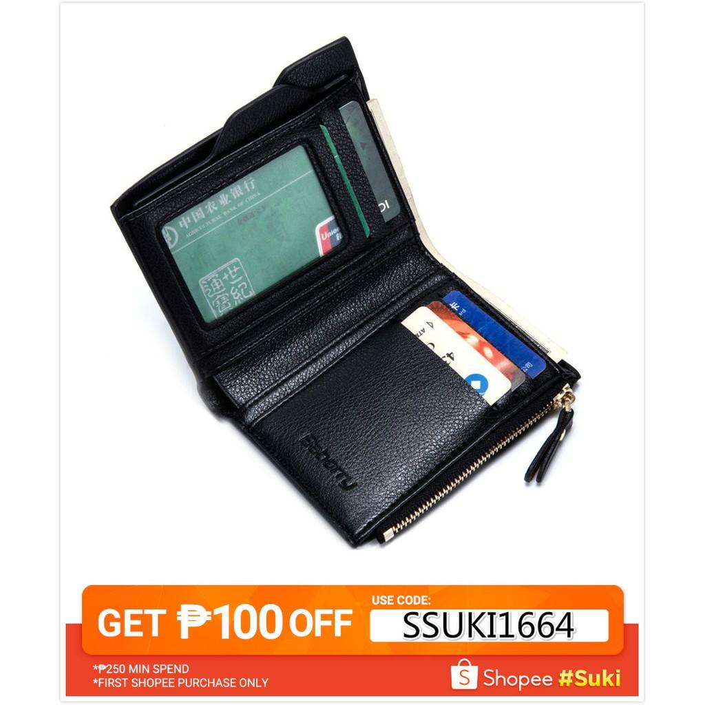 23c4706b746 Antimagnetic Men Anti RFID Male Zipper Purse Short Wallet