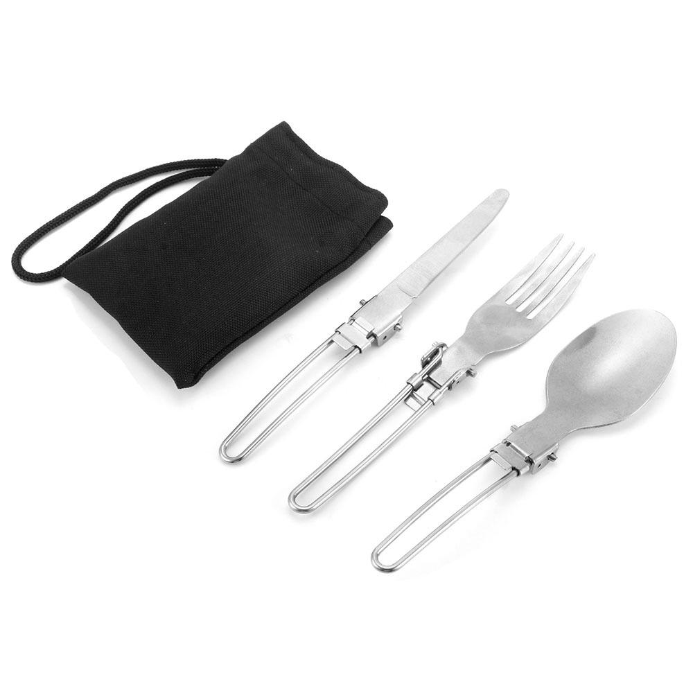 Bag F 3PCs Camping Hiking Picnic Folding Cutlery Set Blade Fork Spoon Utensil