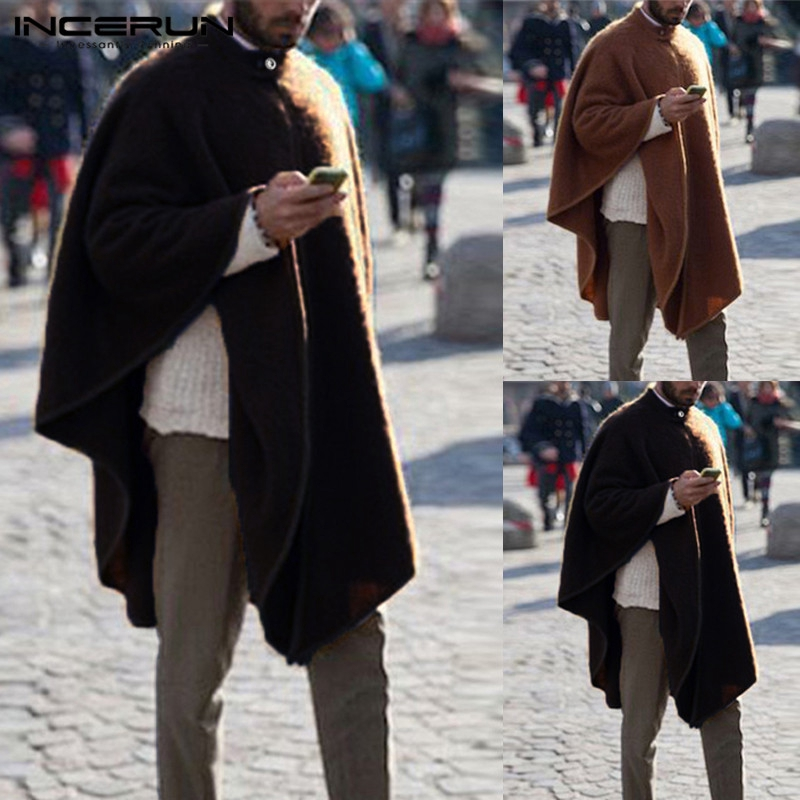 INCERUN Men/'s Loose Long Cardigan Baggy Cloak Cape Thin Coat Jacket Outwear Tops