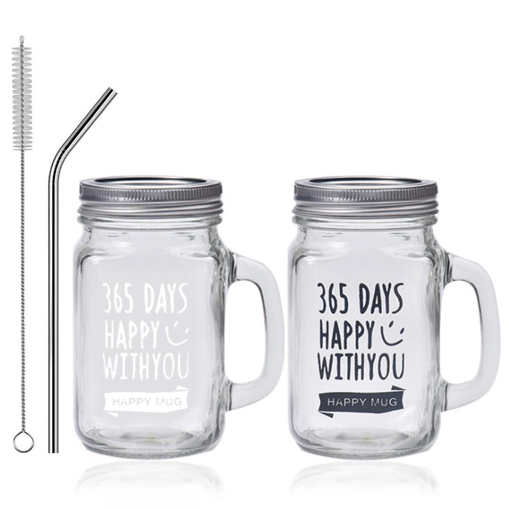 Mason Jar Mug Reusable Wide Mouth Drinking Mug Drinking Glass With Lid Straw Shopee Philippines