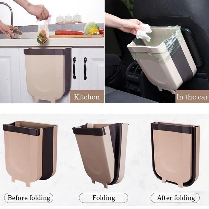 Ehome Folding Waste Bin Kitchen Cabinet, Hanging Trash Can For Kitchen Cabinet Door