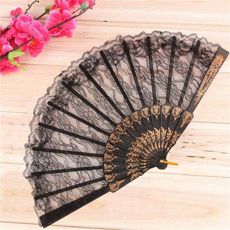 Vintage Spanish Style Dance Party Wedding Lace Silk Folding Hand Held Flower Fan