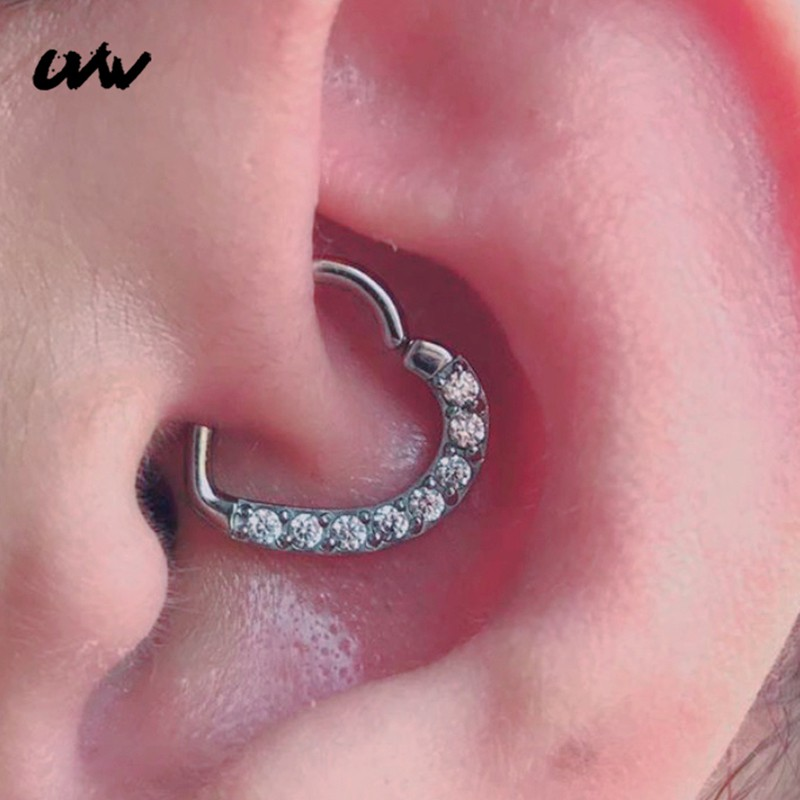 Uvw341 1pc Tiny Lovely Cz Crystal Heart Copper Earrings Daith