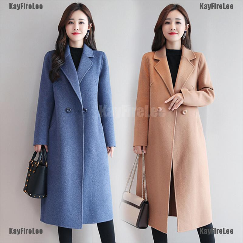 Womens Korean Mid long slim Fit windbreaker Woolen overcoat outwear coat jacket