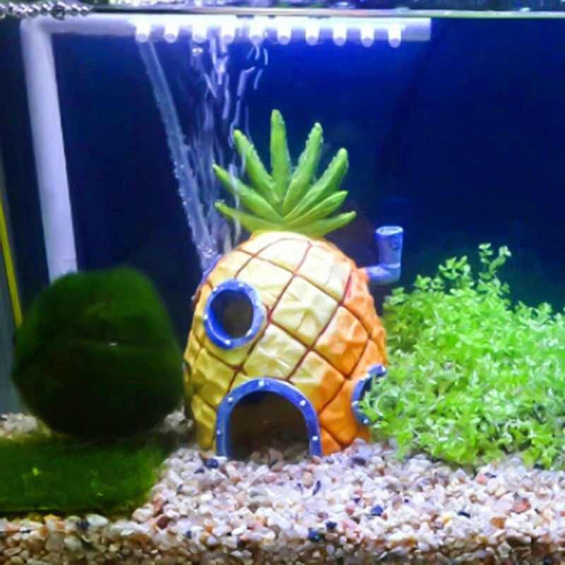 Aquarium Ornament Fish Tank Spongebob Pineapple House Resin House Decoration Lot Decorations Pet Supplies