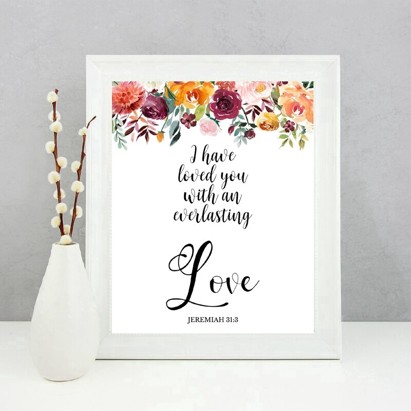 Wall Art Canvas Painting Home Decor Bible Verses Typography Prints Watercolor Flowers Love Quotes Verse New Christian Shopee Philippines