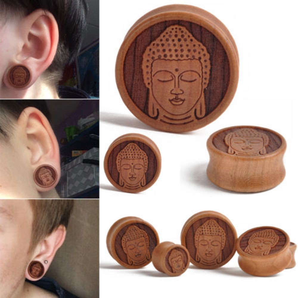1Pair of Carved Rose Ear Plug Ear Gauge Organic Wood Double Flared Flesh Tunnel