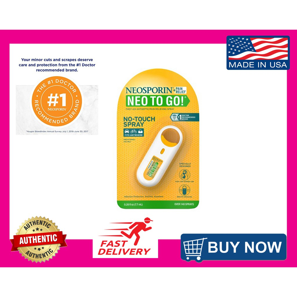 Neosporin + Pain Relief Neo To Go First Aid Antiseptic Spray