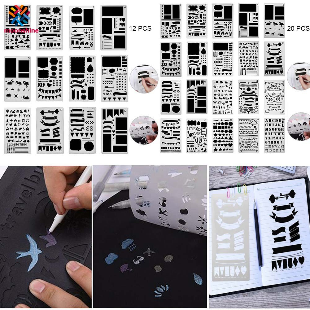 Journal Bullet 12PCS//Set Plastic Stencils Journal//Notebook//Scrapbook Stencil U