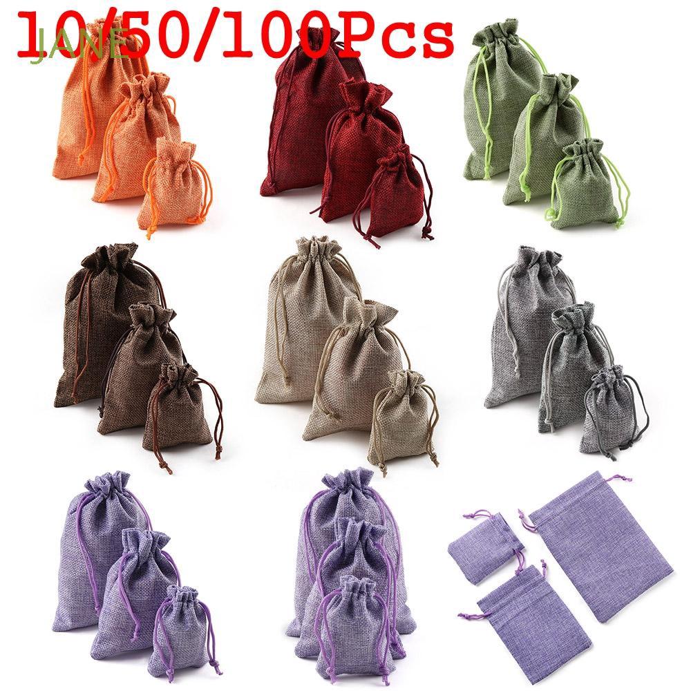 50//100pcs Burlap Linen Drawstring Pouch Wedding Party Favor Gift Candy Bags