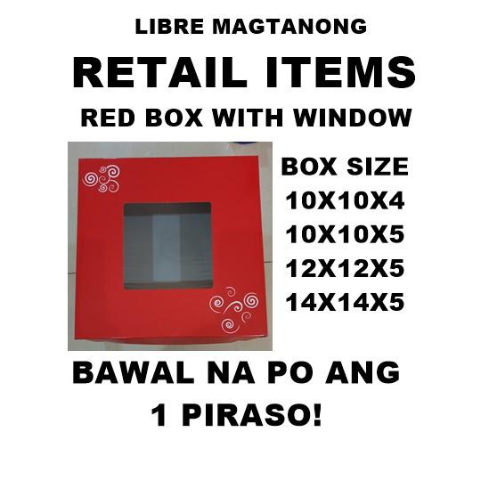 SQUARE CAKE BOX RED Printed 10x10x5 and 12x12x5 10PCS MINIMUM PARA NDI MAGUSOT