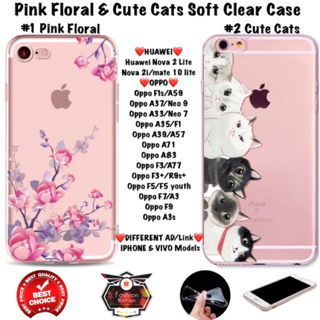 on sale 2d63b 30fd2 Floral Cats Huawei Oppo Case F1s A37 A71 A83 F3 F5 F7 iphone