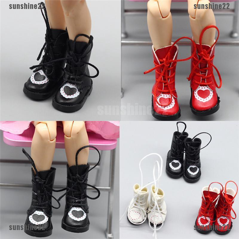 1Pair Pu Leather 1//8 Doll Boots Shoes For Bjd 1//6 Dolls Blythe Licca Jb Dolls KW