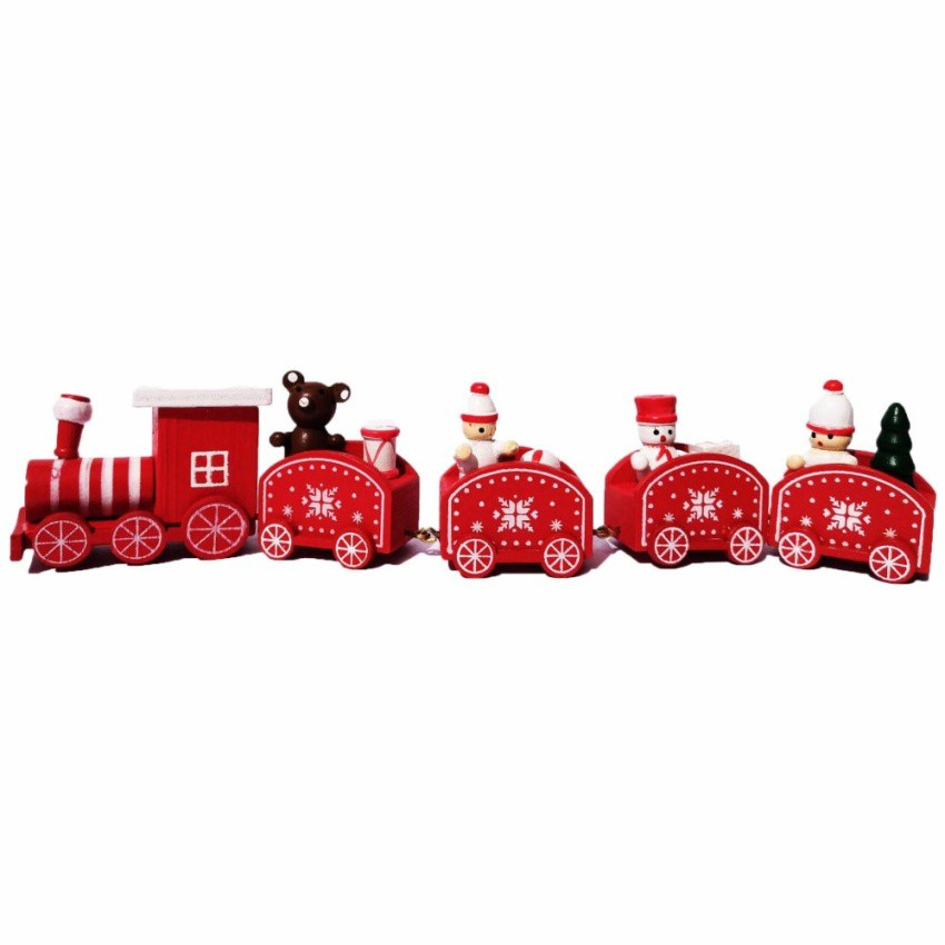 Christmas village miniature wooden train (Set of 5)