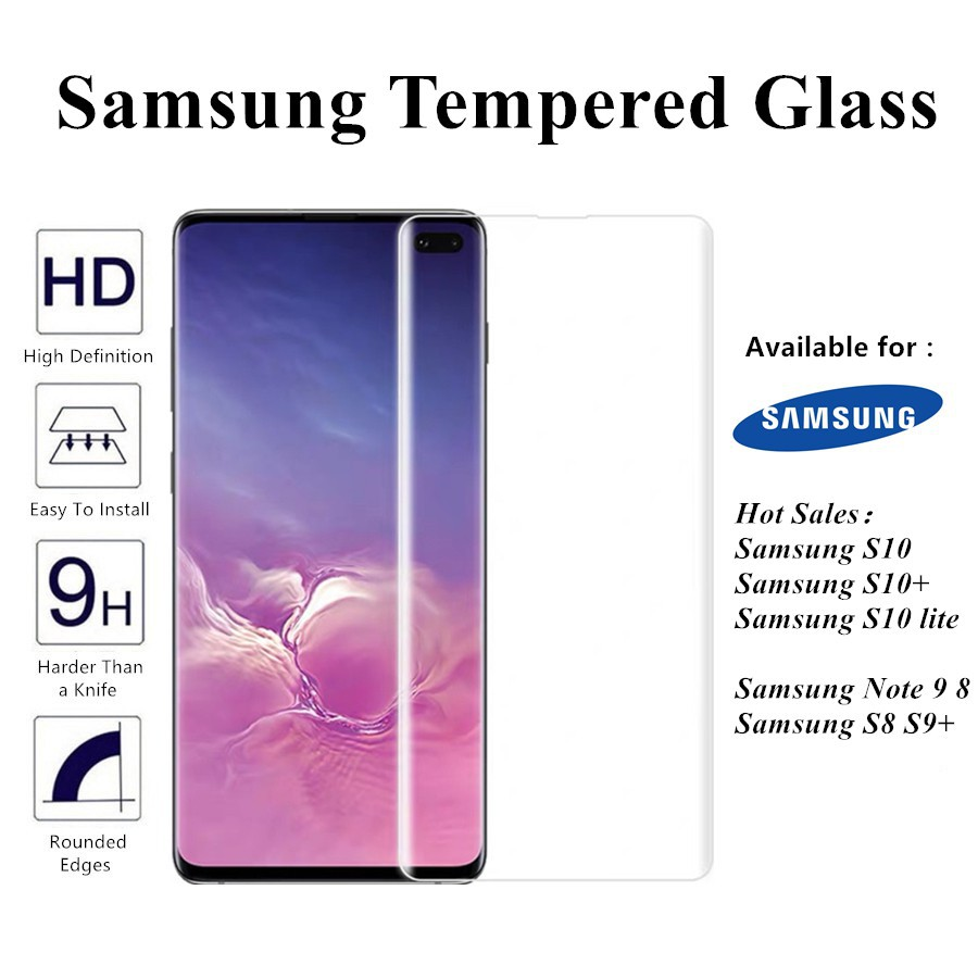 Samsung S10 plus S10e S9 S8 plus Note 9 8 Tempered Glass Curved Screen  Protector