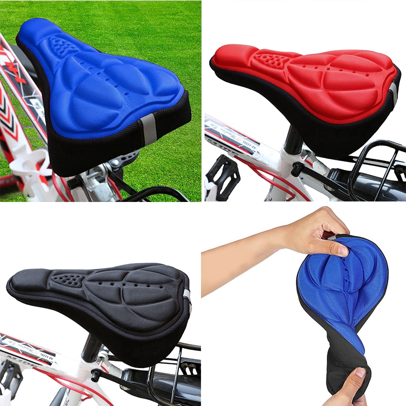 RED Cycling Bicycle Bike 3D Sponge Pad Seat Saddle Cover Soft Cushion Free Air