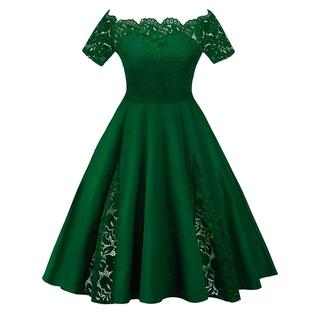 becdf6e50e27 FM]women Plus Size Lace Panel Off The Shoulder Dress | Shopee ...
