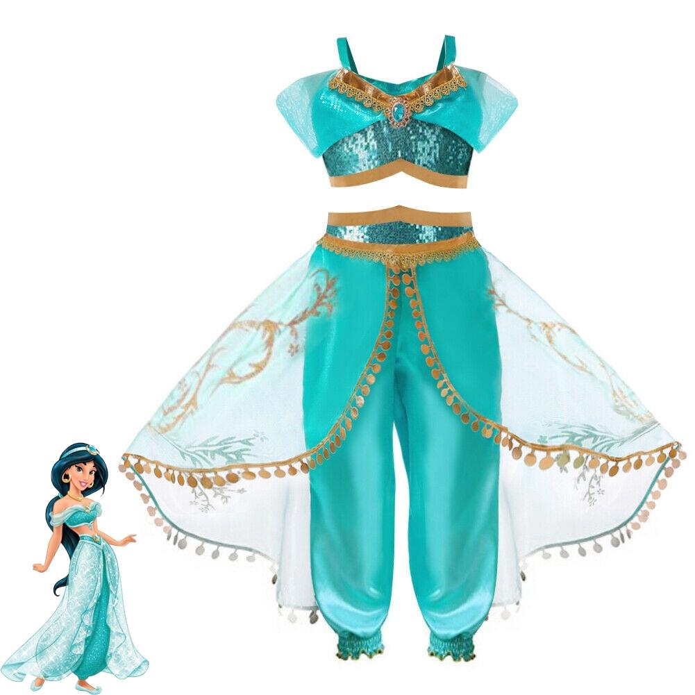 Girl Aladdin Costume Princess Jasmine Fancy Costume Size 4-10 Years New