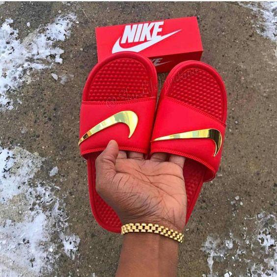 cb170550586978 Nike Benassi Slides for Women Gold Check(OEM Type)